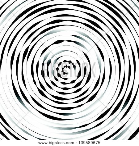 Radial Concentric Circles With Irregular, Dynamic Lines. Abstract Pattern With Rotating, Spiral Effe