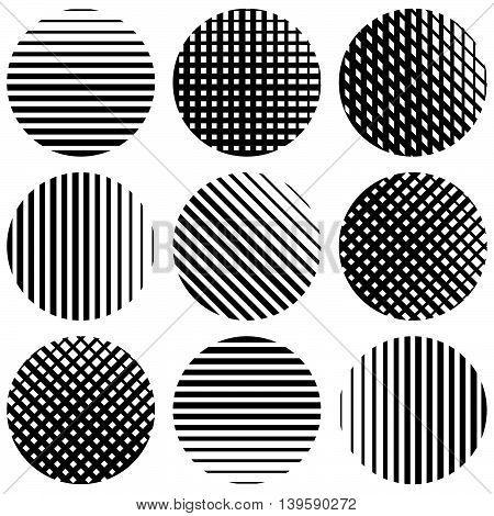 Set Of Half-tone Lines In Circles. Straight Vertical, Horizontal, Diagonal And Grid, Mesh Lines.