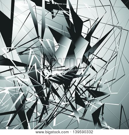 Edgy Monochrome Illustration With Geometric Shapes. Abstract Geometric Art.