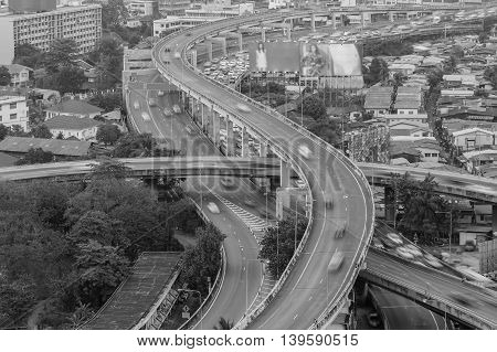 Black and White, Aerial view, close up highway intersection S curved, long exposure