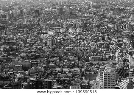 Black and White, Aerial view of Tokyo residence area, Japan