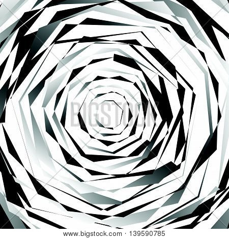 Edgy Spirally Texture. Abstract Monochrome, Geometric Pattern.