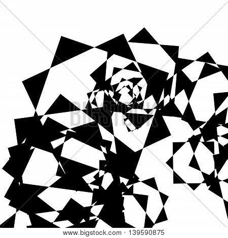 Edgy Geometric Random Shapes. Artistic Monochrome Illustration