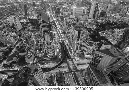 Black and White, Arial view city downtown with train station interchanged, night lights view