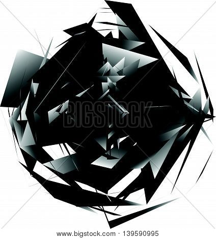 Geometric Monochrome Element Isolated On White. Rough, Edgy, Textured Shape.