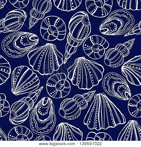 Seamless pattern with white seashells on a blue background.