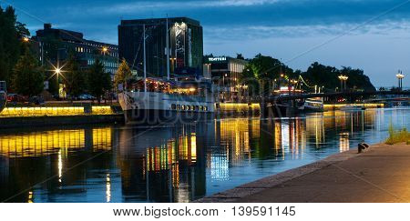 View To The Aura River At Night In Turku,finland