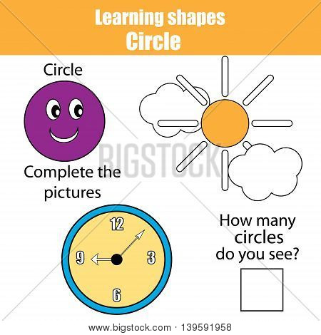Educational children game kids activity. Learning geometry shapes. Circle