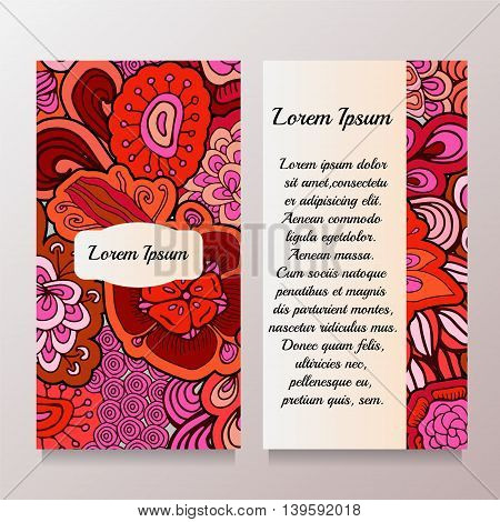 Stock vector template with abstract floral patternoriental design for card banner cover layout.