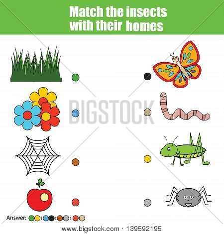 Match the insects with homes children education game. Learning animals insects theme kids activity
