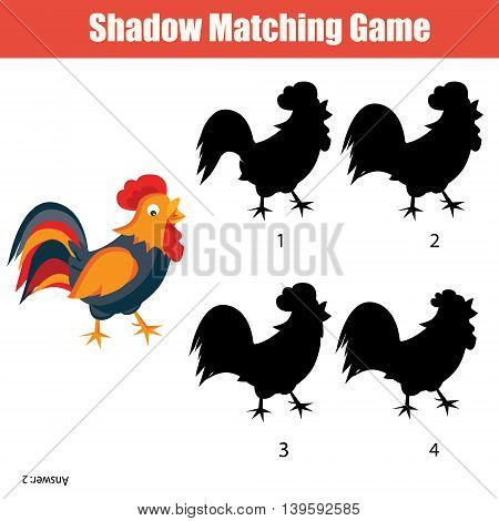 Shadow matching game for kids. Find the right shadow for rooster