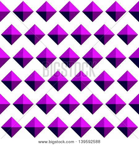 Repeatable Pattern With Studs, 3D Gem Like Shapes. Simple Monochrome Geometric Background, Texture.