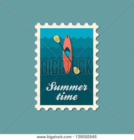 Kayak stamp. Canoe vector. Beach. Summer. Summertime. Holiday. Vacation eps 10