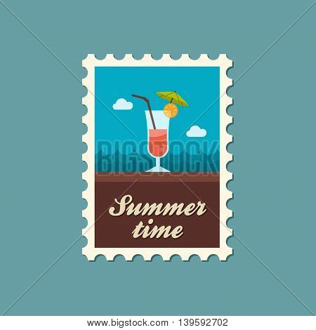 Cocktail vector stamp. Beach. Summer. Summertime. Holiday. Vacation eps 10