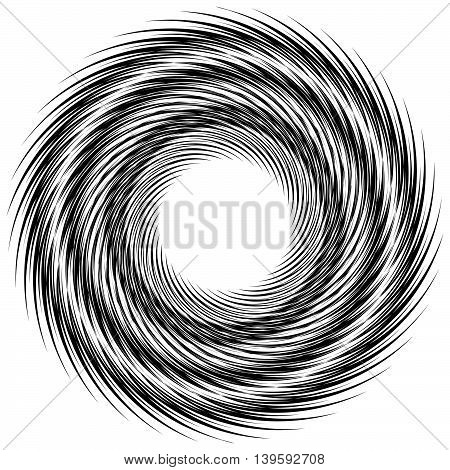 Abstract Geometric Spiral Shape. Rotating, Swirling Radial Element Isolated On White. Monochrome, Bl