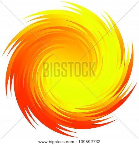 Spinning Radial Orange, Yellow Shape Isolated On White
