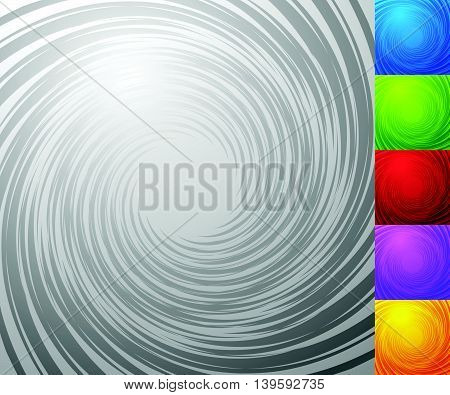 Colorful Background Set With Spiral - Vortex Element. Set Of 5 Colors Plus Grayscale Version