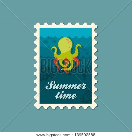 Octopus vector stamp. Summer. Summertime. Holiday. Vacation eps 10