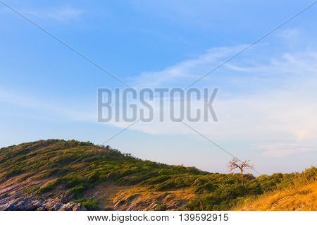 Mountain curved with beautiful blue sky background, natural landscape