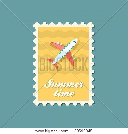 Aircraft vector stamp. Travel. Summer. Summertime. Holiday. Vacation eps 10