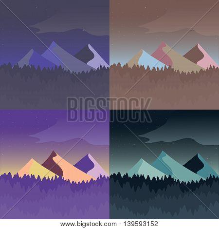 Mountain landscape set. Four color variations of flat art