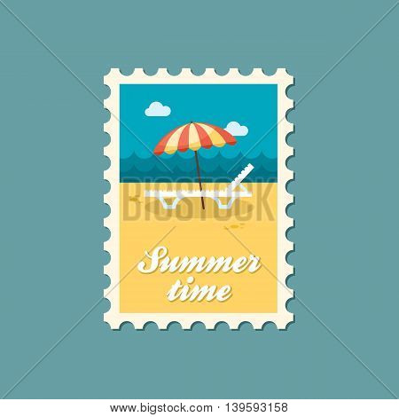 Beach chaise lounge with umbrella vector stamp. Summer. Summertime. Holiday. Vacation eps 10