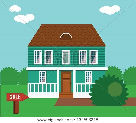 Real estate on sale. House cottage townhouse mansion vector illustration with sail sign in yard