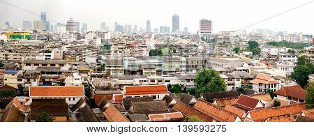 Traditional architecture of Bangkok from the height of bird flight Thailand.