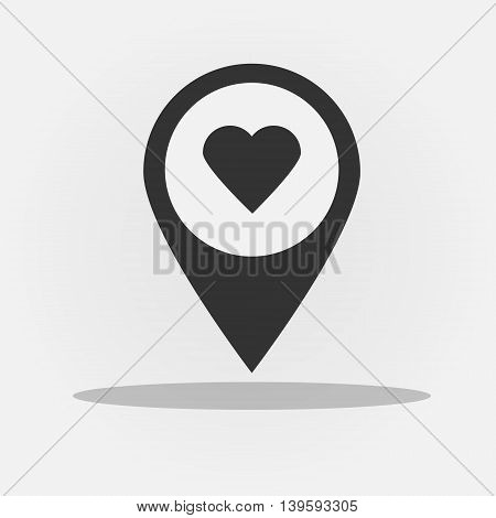 Vector icon with heart in gps navigation style. Black icon with heart shape for mobile applications and other design