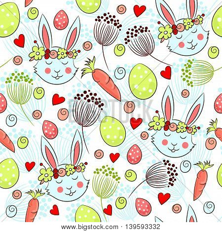 Cute Easter pattern with rabbits in floral garlands, carrots and eggs. Vector illustration.