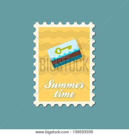 Electronic keycard vector stamp. Key card. Travel. Summer. Summertime. Holiday. Vacation eps 10