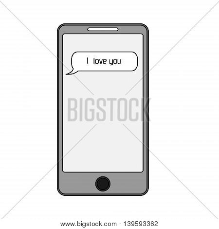 Isolated phone with text message i love you on screen. Smartphone with romantic sms. Vector illustration.