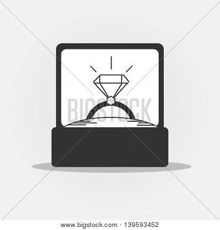 Engagement ring black and white icon. Wedding ring with diamond in box vector illustration