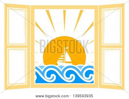 vector floating sailboat outside the window isolated on white background