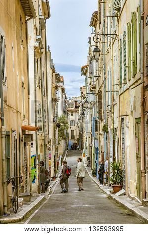 People Visit The Historic Quarter Le Panierin Marseille In South France