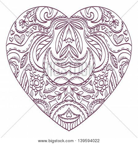 Vector heart for coloring with valentines decorative elements. Patterned Design Element Coloring book. Vector illustration.