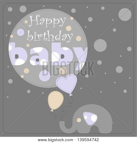 Greeting card for birthday child. Depicts an elephant holding balloons and gray circles of varying size. On the largest circle the phrase happy birthday baby.