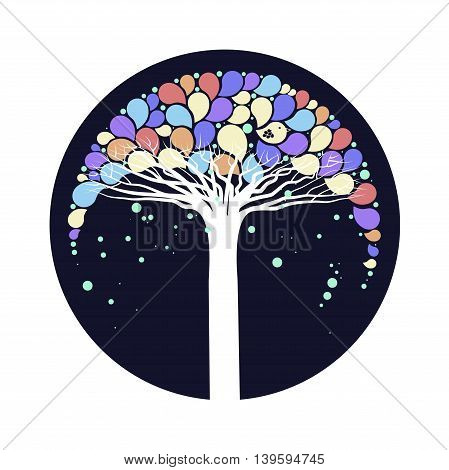 Cover design.The tree with colorful leaves and the bird on the dark background.