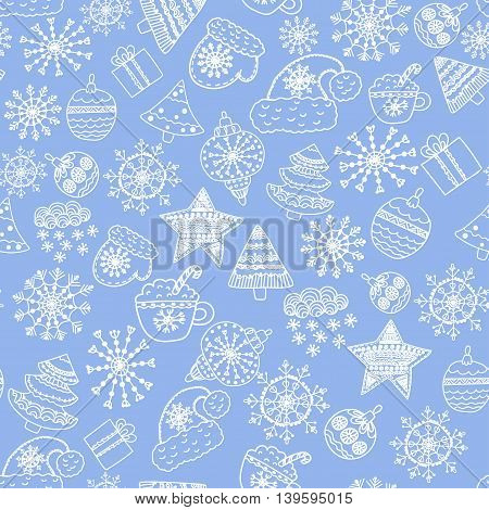 Seamless Christmas pattern with mittens, snowflakes, trees and gifts, drawn in a cartoon style.