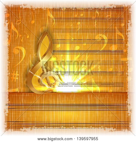 Music background with a gold treble clef on the old music paper with texture and bright flash. It can be used with any image on a white background.
