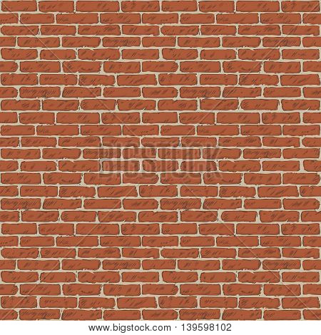 Seamless Vector Pattern with Brick Wall. Hand Drawn Illustration