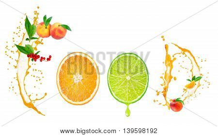 Food word written with fruits slices and juice splashes isolated on white background. Flat lay.