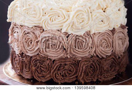 Birthday Cake Decorated With Three Chocolate Cream Roses