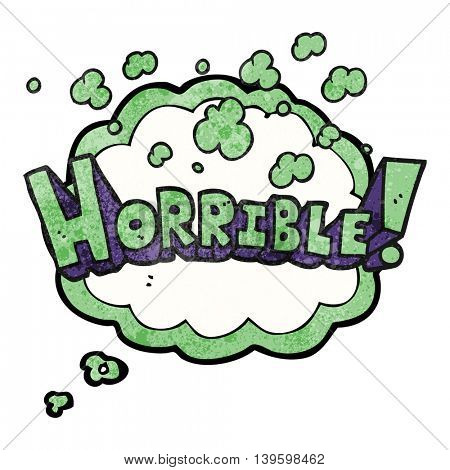 freehand drawn thought bubble textured cartoon word horrible