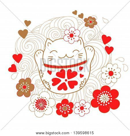 Cute card with white cat - a talisman, bringing luck, Maneki Neko. On the stomach of a kitty drawn hearts that bring luck in love.