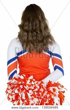 Back Of A Girl Cheerleader Holding Orange And White Pom-poms