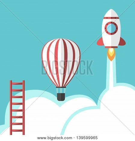 Ladder hot air balloon and space rocket. Business success competition career promotion opportunity and development concept. EPS 8 vector illustration no transparency