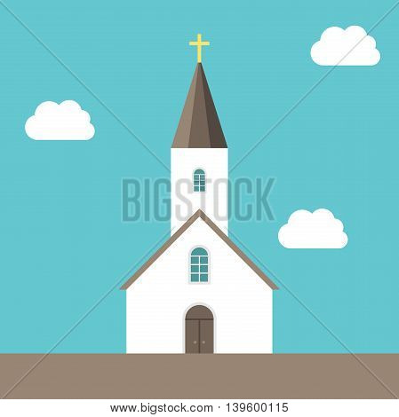 Beautiful small white Christian church on blue sky background with clouds. Religion faith god and Christianity concept. EPS 8 vector illustration no transparency