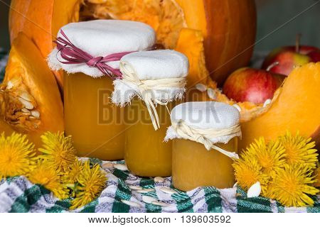 Pumpkin and pumpkin jam, puree or sauce on green with white tablecloth. Autumn still life.