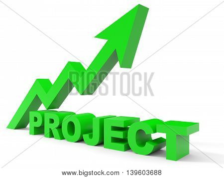 Graph up project arrow on white background. 3D illustration.